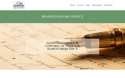 Screenshot of Services Page breakthroughresumes.com - Services - Breakthrough Resume Service - captured Oct. 6, 2018
