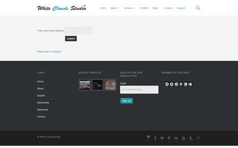 Screenshot of Support Page whitecloudsstudio.com - Support - captured Sept. 26, 2014