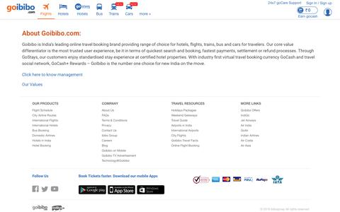 Screenshot of About Page goibibo.com - About us - captured March 25, 2019