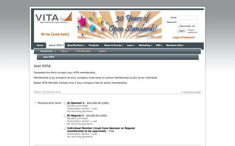 Screenshot of Signup Page vita.com - VITA - Join VITA - captured Oct. 26, 2014