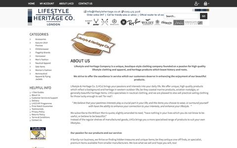 Screenshot of About Page lhco.co.uk - About Lifestyle and Heritage Co - captured Sept. 16, 2014