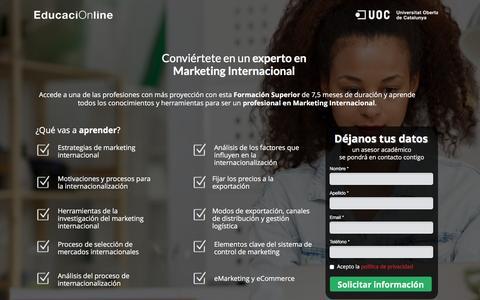 Screenshot of Landing Page educacionline.com - Curso de Marketing Internacional Online | EducaciOnline - captured Oct. 20, 2016