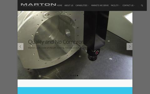 Screenshot of Home Page martoninc.com - Welcome to Marton Precision Manufacturing - captured Jan. 9, 2016