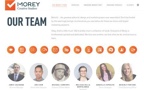 Screenshot of Team Page moreycreative.com - Our Team // Morey Creative Studios - captured Sept. 21, 2018