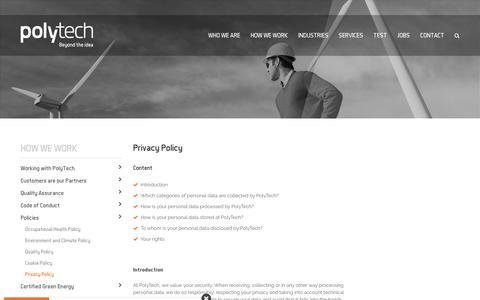 Screenshot of Privacy Page poly-tech.dk - Privacy Policy - captured Sept. 28, 2018