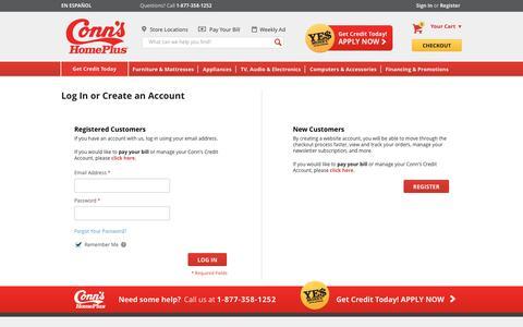 Screenshot of Login Page conns.com - Customer Login - captured May 21, 2017