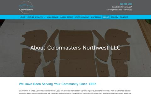 Screenshot of About Page colormastersnw.com - About Colormasters Northwest LLC | Kirkland, VA Seat Repair - captured Oct. 31, 2018