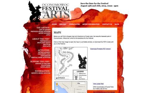 Screenshot of Maps & Directions Page oconomowocarts.org - Oconomowoc Festival of the Arts - Maps - captured Oct. 27, 2014