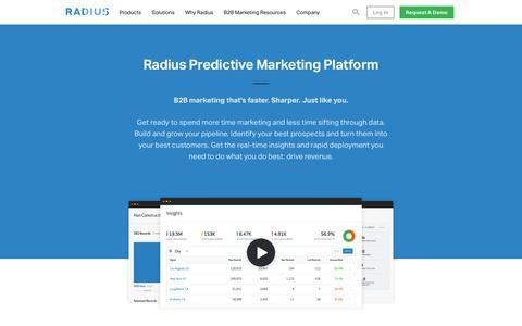 Screenshot of Products Page radius.com - Predictive B2B Marketing Software & Analytics • Radius • Product - captured May 19, 2016