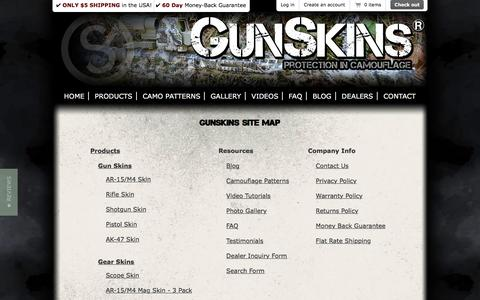 Screenshot of Site Map Page gunskins.com - GunSkins | Site Map - captured July 19, 2016