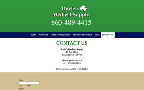 Screenshot of Contact Page doylesmedicalsupply.com - Doyle's Medical Supply - captured Oct. 9, 2018