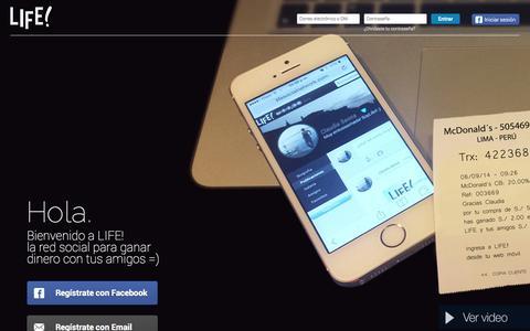 Screenshot of Home Page lifesocialnetwork.com - Life! - captured Sept. 18, 2014