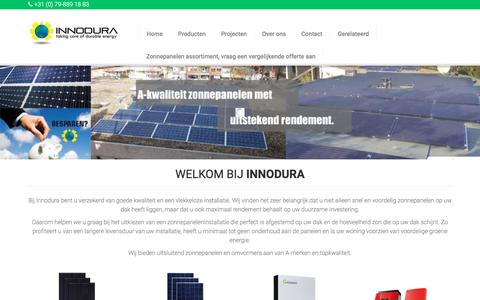 Screenshot of Home Page innodura.nl - Innodura - De zonnepanelen specialist - captured Sept. 15, 2018