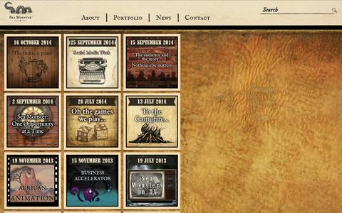Screenshot of Press Page seamonster.co.za - Studio News Animation, Game Development, Augmented reality, Animated explainers • Sea Monster - captured Oct. 27, 2014