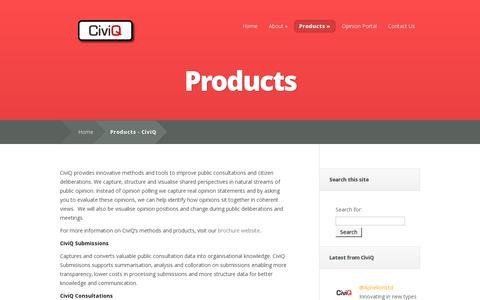 Screenshot of Products Page civiq.eu - Products - CiviQ | CiviQ - captured July 19, 2014