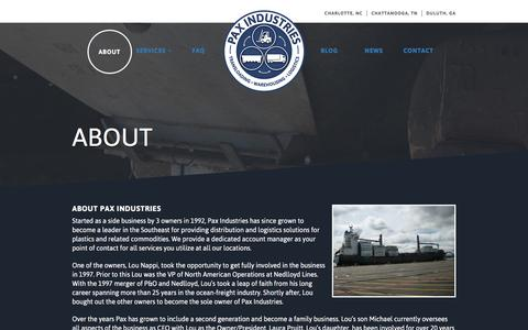 Screenshot of About Page paxind.com - About –  Pax Industries - captured Jan. 26, 2016