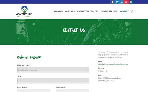 Screenshot of Contact Page adventureprofessionals.com.au - Contact - Adventure Professionals - captured July 24, 2016