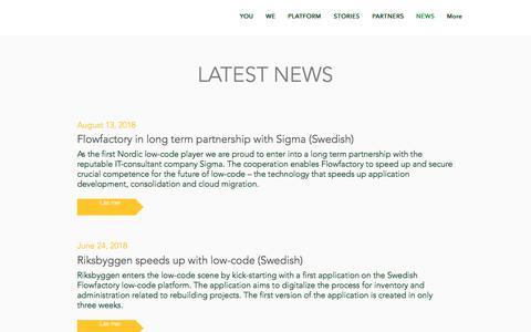 Screenshot of Press Page flowfactory.se - Flowfactory News - captured Aug. 18, 2018