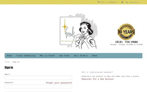 Screenshot of Login Page fredsfinecleaningcenter.com - Sign In - captured Oct. 29, 2014