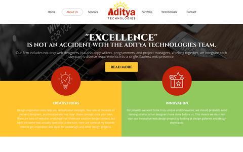 Screenshot of About Page aditechsoft.com - Aditya Technologies: Web Design Firms | Best Design Team | e-commerce website design - captured Oct. 7, 2017