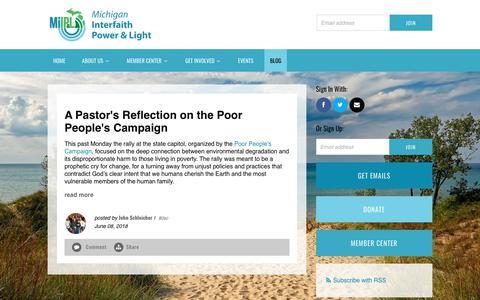 Screenshot of Blog miipl.org - Michigan Interfaith Power & Light's Blog - captured Oct. 18, 2018