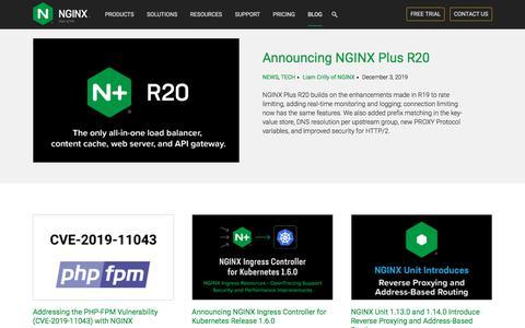Screenshot of Blog nginx.com - Blog - NGINX - captured Jan. 22, 2020