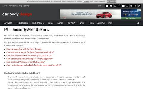 Screenshot of FAQ Page carbodydesign.com - FAQ – Frequently Asked Questions   - Car Body Design - captured Nov. 17, 2018