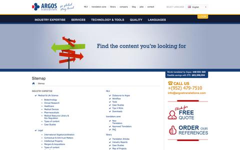 Screenshot of Site Map Page argostranslations.com - Translation Company | Document Translations | Professional Translations | Translation Services | Sitemap - captured Sept. 19, 2014