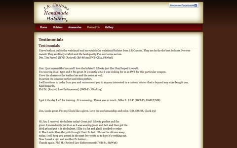 Screenshot of Testimonials Page jrcholsters.com - Testimonials - captured Oct. 3, 2014