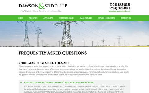 Screenshot of FAQ Page dawsonsodd.com - Frequently Asked Questions   Dawson & Sodd - captured Feb. 13, 2016