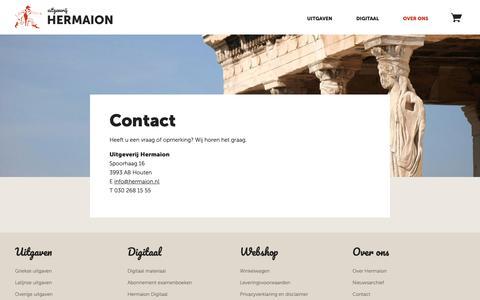Screenshot of Contact Page hermaion.nl - Contact - Uitgeverij Hermaion - captured Oct. 1, 2018