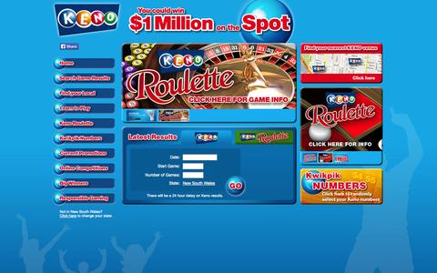 Screenshot of Home Page playkeno.com.au - Play Keno - You could win $1 Million on the Spot - captured Sept. 25, 2014