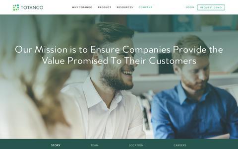 Screenshot of About Page totango.com - About Us | Totango | Customer Success Software - captured Nov. 12, 2016
