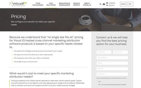 Screenshot of Pricing Page visualiq.com - Pricing - Visual IQ - captured July 19, 2016