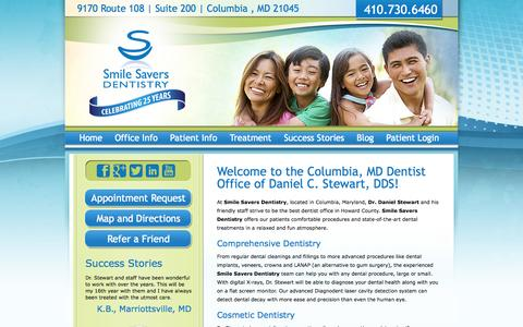 Screenshot of Home Page smilesaversdentistry.com - Dentist Columbia Maryland | Smile Savers Dentistry | Emergency, Invisalign, Whitening - captured Sept. 30, 2014