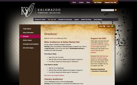 Screenshot of Maps & Directions Page kalamazoosymphony.com - Directions | Plan Your Experience | Kalamazoo Symphony Orchestra (KSO) - captured Oct. 6, 2014