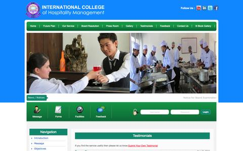 Screenshot of Testimonials Page ichm.edu.np - .:: International College of Hospitality and Management - captured Oct. 27, 2014