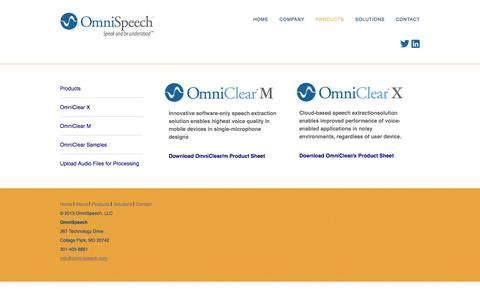 Screenshot of Products Page omni-speech.com - PRODUCTS - captured Sept. 24, 2016