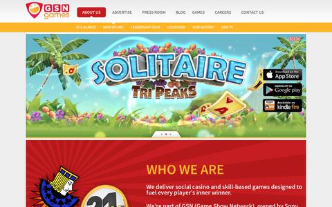 Screenshot of Home Page About Page gsngames.com - About Us - GSN Games - captured July 9, 2019