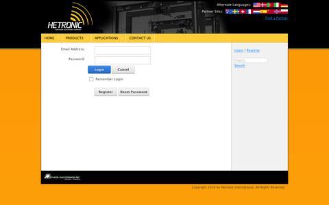 Screenshot of Login Page hetronic.com - User Log In - captured Jan. 28, 2016