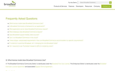 Screenshot of FAQ Page broadleafcommerce.com - Frequently Asked Questions - Broadleaf Commerce - captured June 3, 2017