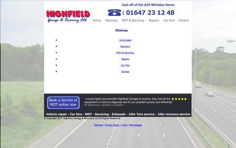 Screenshot of Site Map Page highfieldgarage.co.uk - Highfield Garage & Recovery LTD - captured Oct. 27, 2014