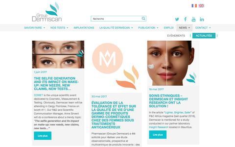 Screenshot of Press Page dermscan.com - Toute l'actualité des tests (pré) cliniques de Dermscan et Pharmascan - captured June 3, 2017