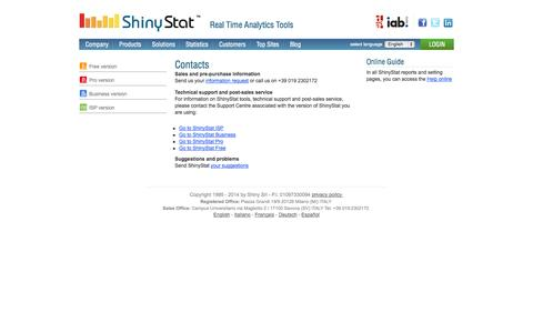 Screenshot of Support Page shinystat.com - ShinyStat™: contacts, how to get in contact with ShinyStat. - captured Sept. 18, 2014