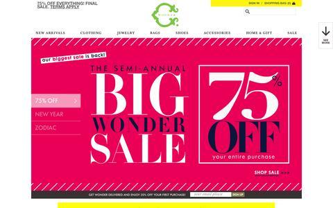 Screenshot of Home Page cwonder.com - C. Wonder | Women's Apparel - Modern Home Decor – Monogram Store – Accessories for Her - captured Jan. 15, 2015