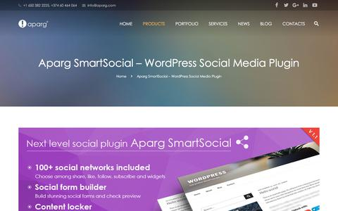Screenshot of Products Page aparg.com - Aparg SmartSocial - WordPress Social Media Plugin - Aparg® - captured July 28, 2018