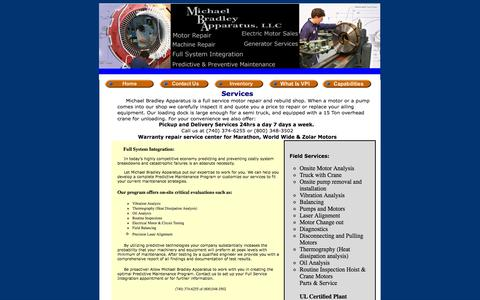 Screenshot of Services Page mbapparatus.com - Michael Bradley Apparatus LLC. Services Page - captured Oct. 27, 2014