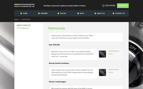 Screenshot of Testimonials Page andico.com.au captured Oct. 8, 2017