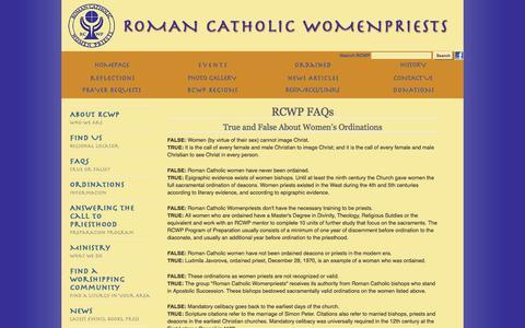 Screenshot of FAQ Page romancatholicwomenpriests.org - Roman Catholic Womenpriests - captured June 9, 2016