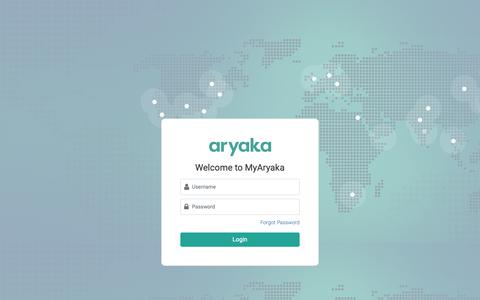 Screenshot of Login Page aryaka.com - Customer Login | Aryaka - captured June 3, 2019